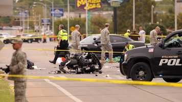 Stillwater police said three people are dead and 22 were hurt Saturday morning in a car crash involving spectators at an Oklahoma State University homecoming parade.