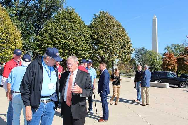 "U.S. Sen. Jim Inhofe, who is an Army veteran, welcomed 25 Oklahoma Honor Flight participants to Washington D.C. Tuesday. 23 of the veterans served during World War II and two served in the Korean War.""One of the most moving experiences I've had as a member of Congress is welcoming Oklahoma's veterans who travel to visit their monuments in the nation's capital,"" said Inhofe. ""These men and women fought for our freedom and represent the greatest generation in our country's history. Listening to their stories and talking to them about their time in service is a reminder that we as a nation must ensure their sacrifices will forever be remembered and honored."""