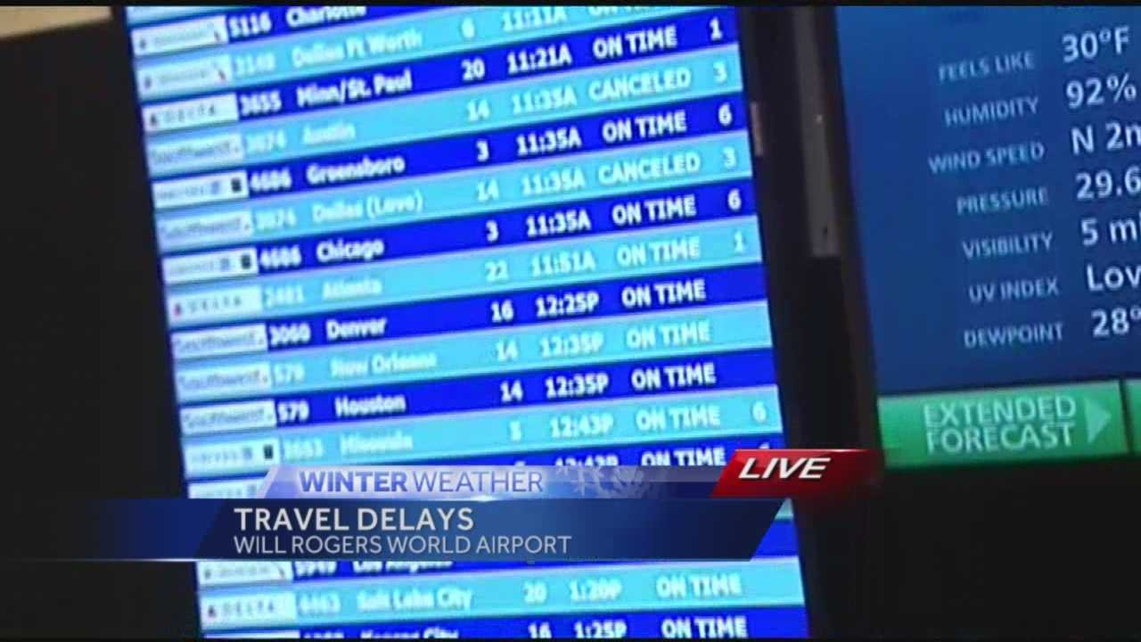 The icy weather has canceled several flights Monday at Will Rogers World Airport.