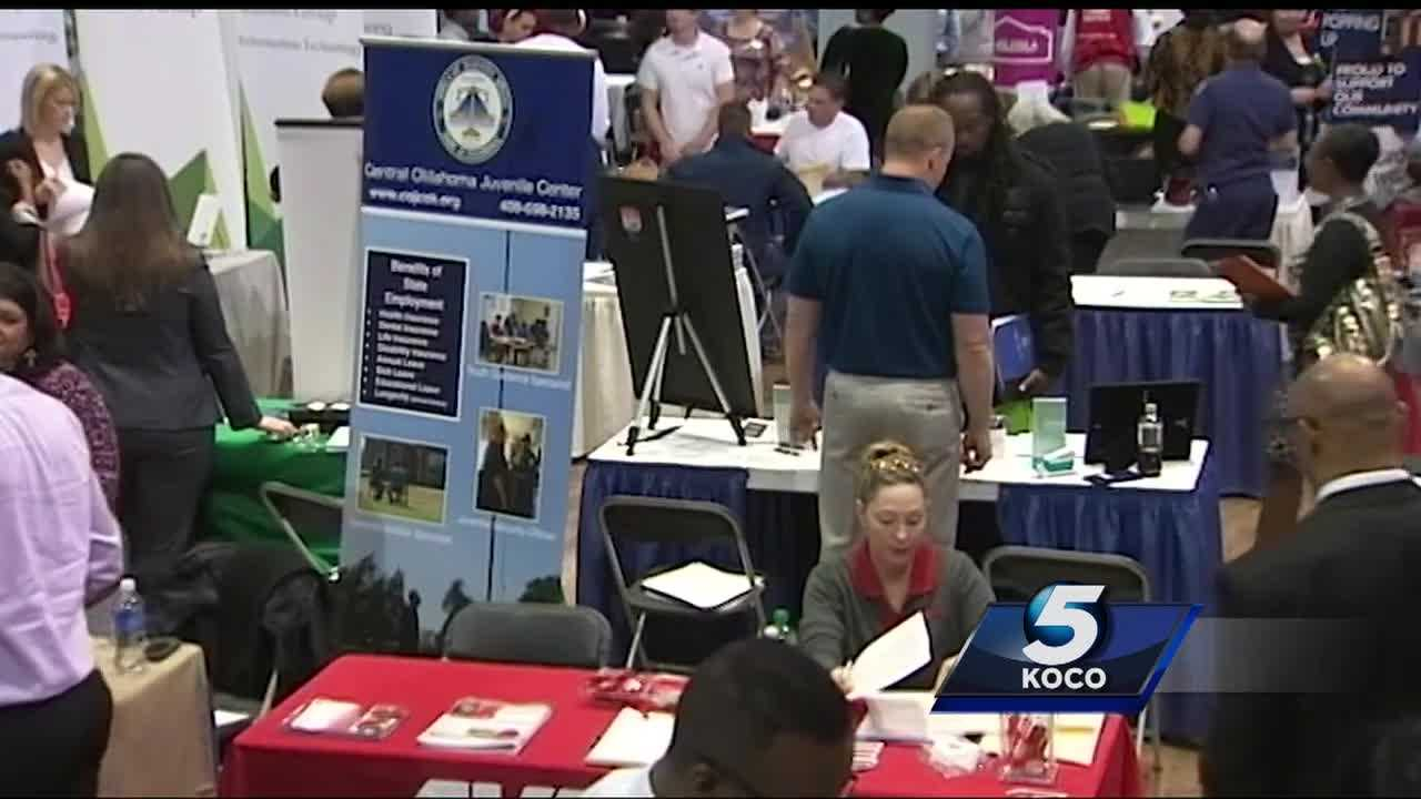 In the midst of an economic downturn in the energy industry, some laid-off oil and gas workers turned to a job fair in Oklahoma City on Friday to find work.
