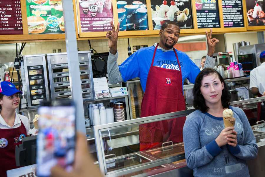 "Oklahoma City Thunder players worked at metro businesses Friday as a part of the team's ""Acts of Kindness"" event."