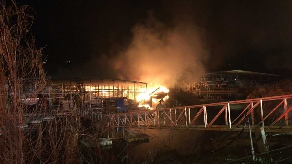 A fire at a Keystone Lake marina has caused damage to at least eight boats Sunday night, OHP reported. Photo courtesy of KOKI.
