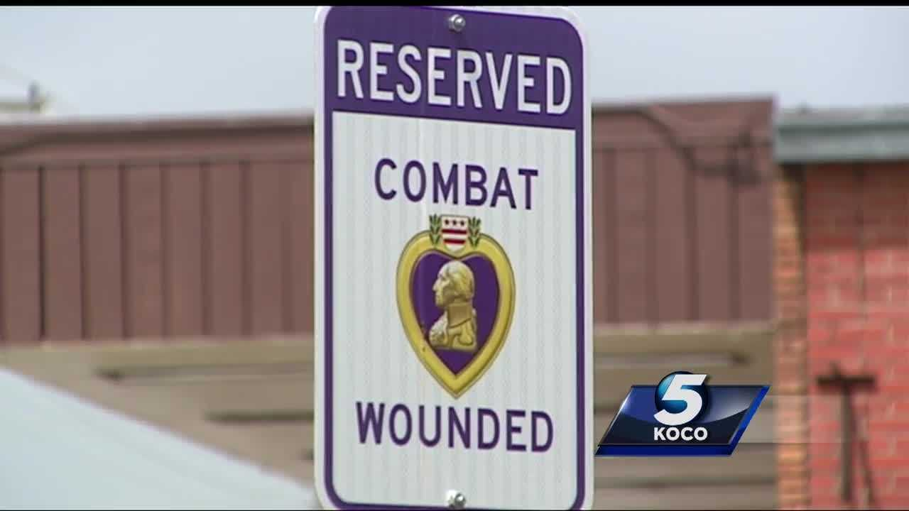 Del City is honoring combat veterans by making sure they have a place to park. The city has made reserved parking spots at every city office for those who have served in the military.