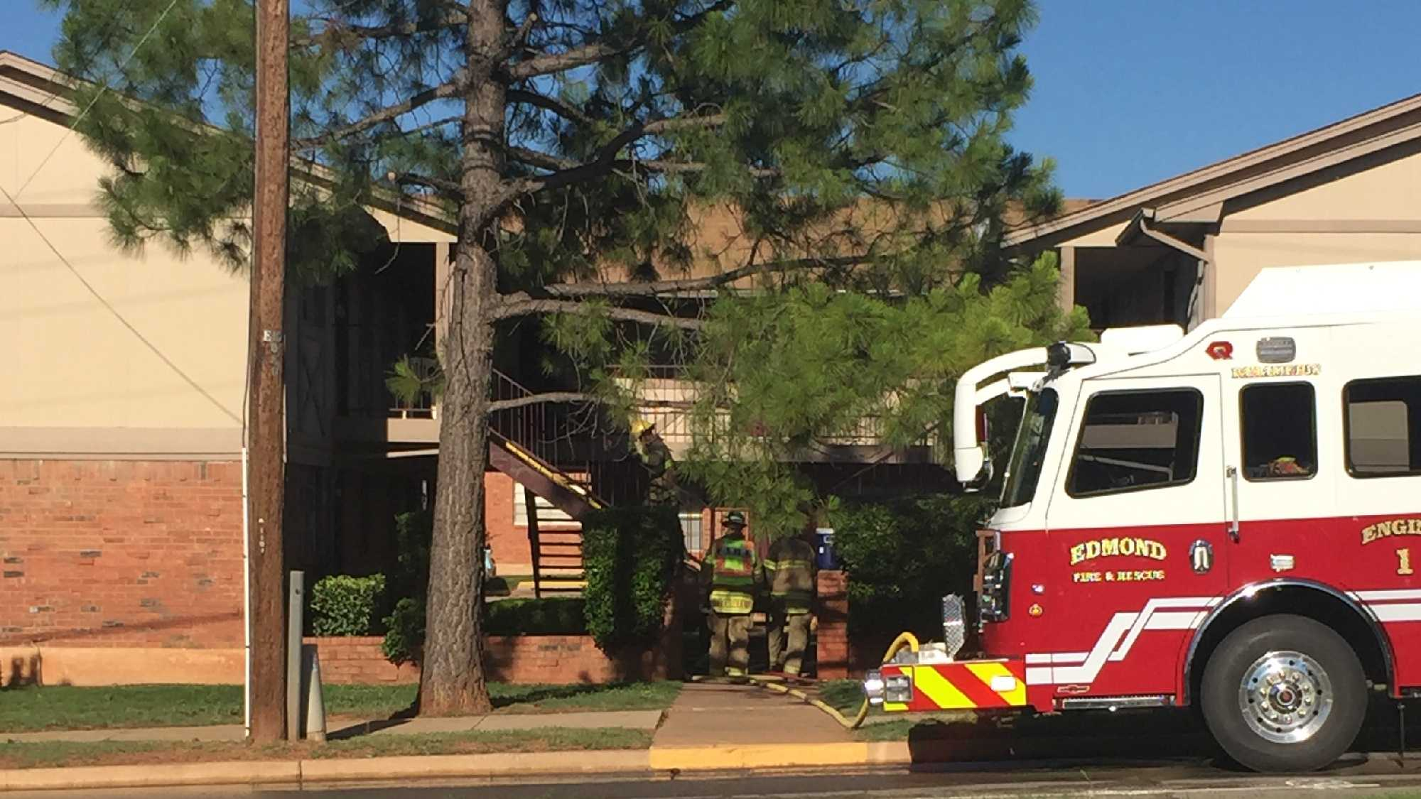 Edmond firefighters are battling a two-story apartment complex fire Sunday evening.