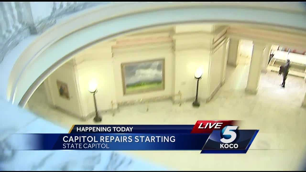 Repairs to the Oklahoma Capitol will begin Thursday, and a group is meeting to determine how to make sure the building's art does not get damaged. Repairs may not be complete until at least 2018.