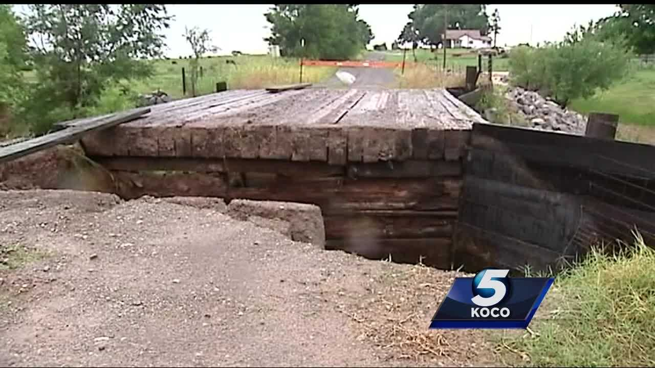 Many places in Oklahoma are dealing with flooding. Apache was hit hard. Caddo County is also dealing with destroyed roads and bridges.