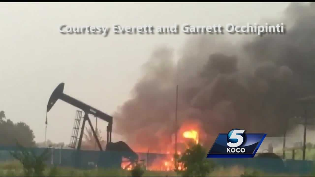 Sunday evening's severe weather sparked a fire at an oil rig in Chandler.