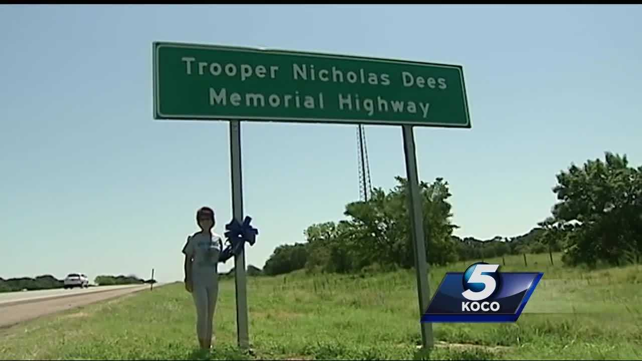 "A section of Interstate 40 has been named in honor of trooper Nicholas Dees, who died in the line of duty while a driver was updating his social media in January 2015, and his family says the sign is ""bittersweet."""