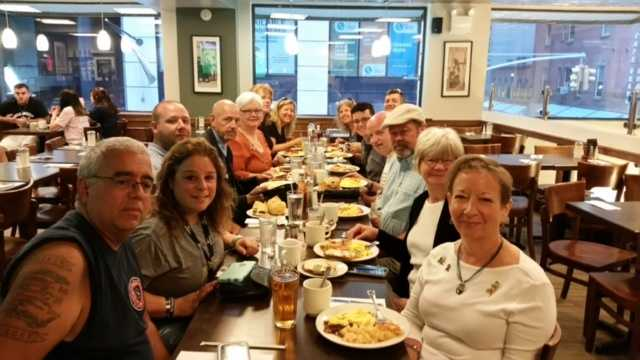 Oklahoma City bombing survivors Joanne Hutchison, Dot Hill, Susan Walton and volunteer Brad Robison having breakfast with 9/11 survivors and first responders in NYC.