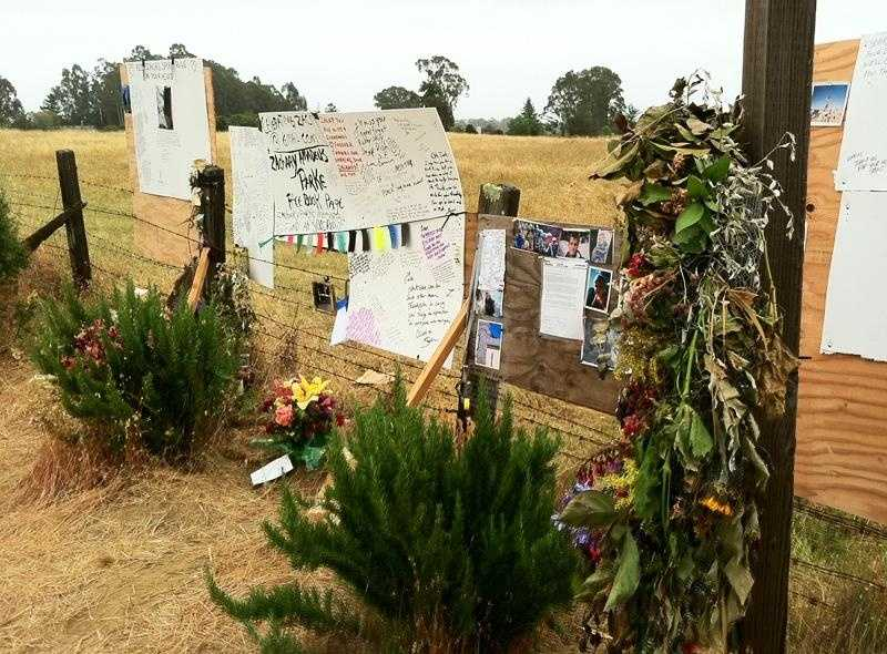 A memorial built by UCSC students and Santa Cruz residents still marks where Zachary Parke was found dead in June 2011.
