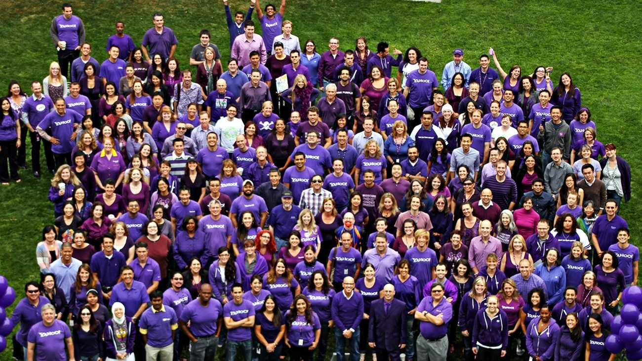 Yahoo's Sunnyvale staff gathered for a Spirit Day photo last year.