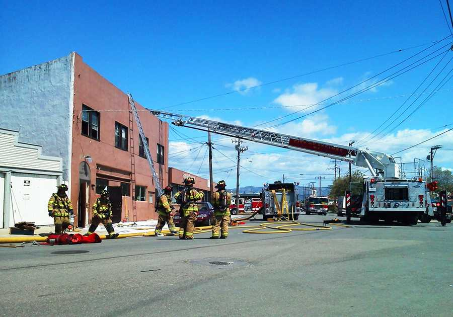 Several apartments were damaged by fire, smoke and water, and firefighters broke down a wall while fighting the blaze.  (April 4, 2012)