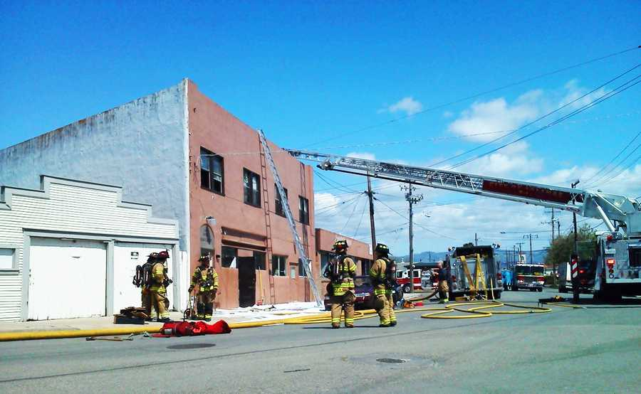 A fire ignited in an upstairs apartment at 13 East Lake Street in Salinas Wednesday afternoon and ripped through multiple apartments.  (April 4, 2012)