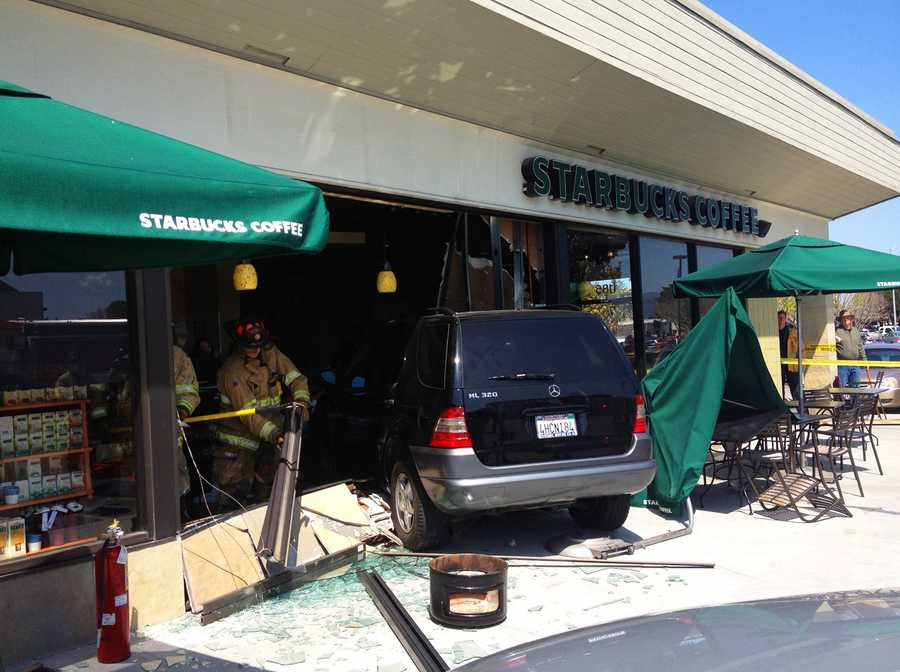 Customers screamed as a Mercedes sport utility vehicle crashed into a busy Starbucks coffee store on South Main Street in Salinas on Friday and injured six people.(April 6, 2012)