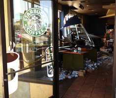 Glass and furniture flew across the room before the out-of-control SUV finally stopped at the drink ordering counter, witnesses said.  Three Starbucks customers, two women and one man, were transported to local hospitals to be treated for moderate injuries.
