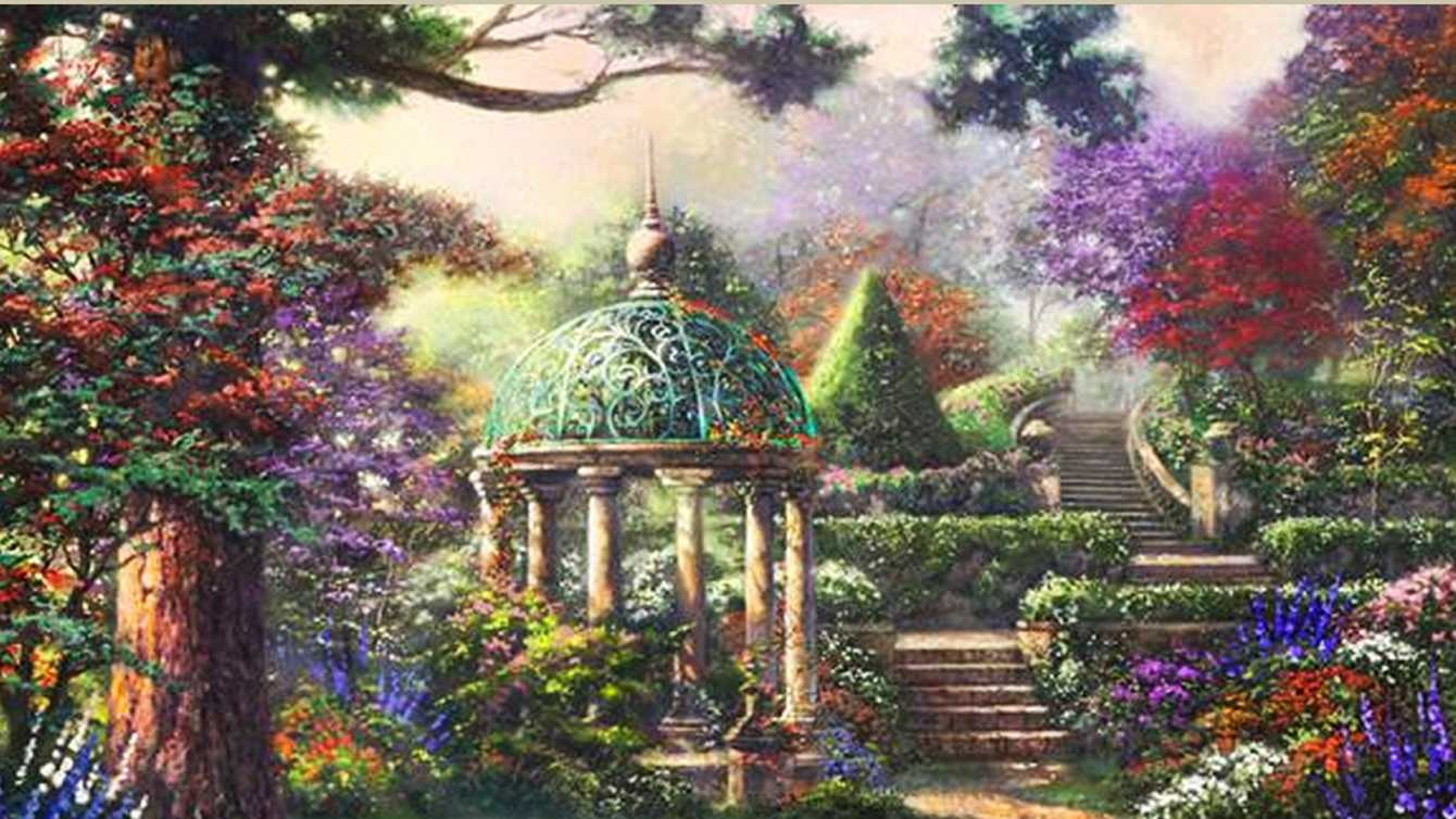 "Thomas Kinkade's last painting is titled ""The Gazebo Of Prayer."""