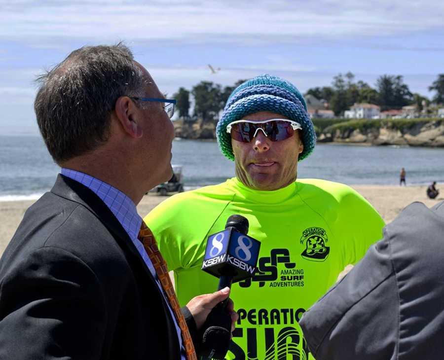 KSBW Reporter Phil Gomez interviews Santa Cruz surfer Richard Schmidt.