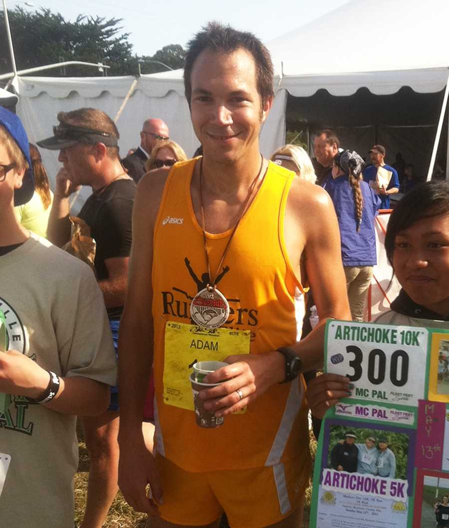 Adam Roach, 27, of Pacific Grove, barely looks winded moments after winning the Big Sur International Marathon with a finishing time of 2:22:30. (April 29, 2012)