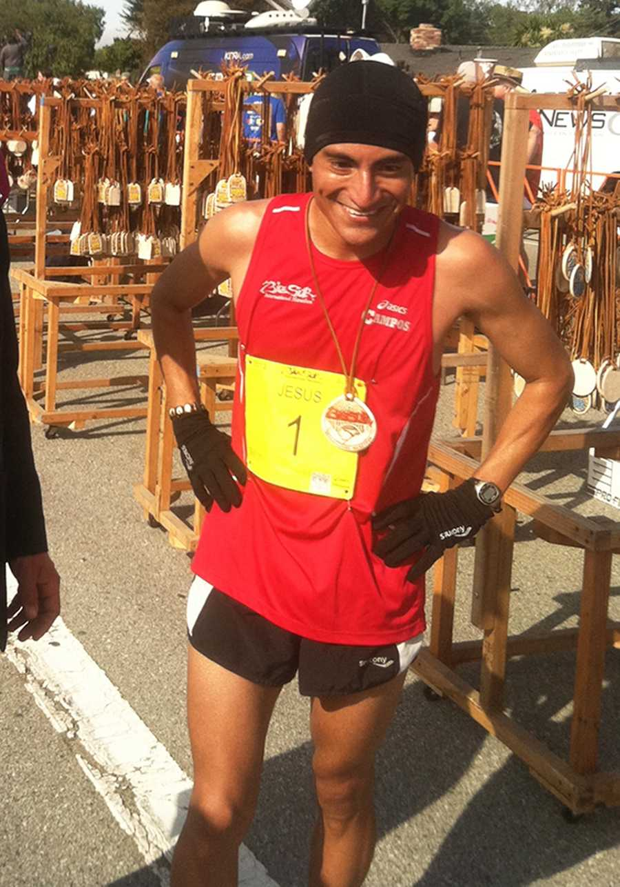Jesus Campos, 27, of King City, has a big smile from placing third in the 2012 Big Sur International Marathon. (April 29, 2012)