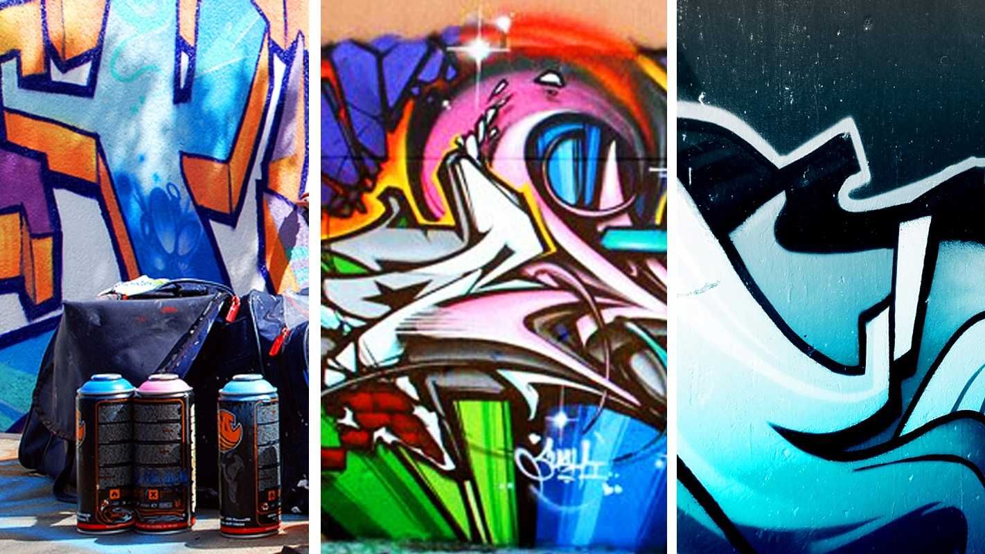 Graffiti sprayed by various artists and vandals is seen.
