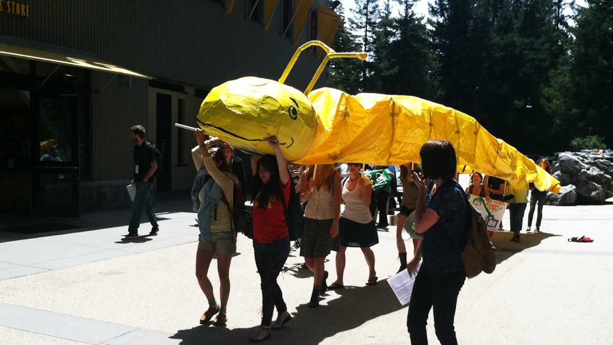 UC Santa Cruz students rally on May Day with a banana slug. (May 1, 2012)