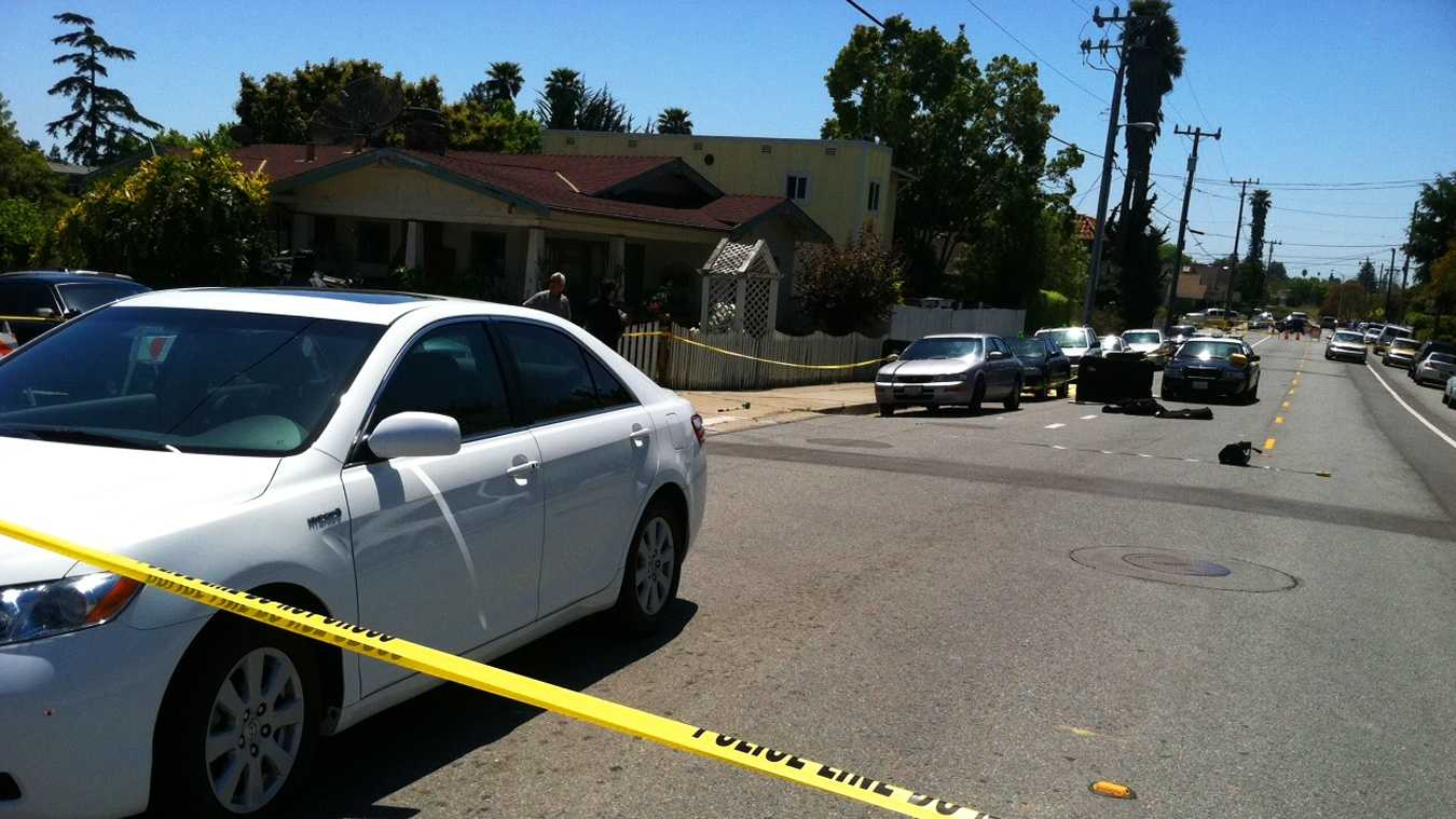 A woman was stabbed to death in this Santa Cruz street on Monday. (May 7, 2012)
