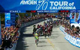 Peter Sagan executed an intense sprint as he crossed the finish line in Aptos on Monday to win Stage 2 of the 2012 Amgen Tour of California.  (May 14, 2012)