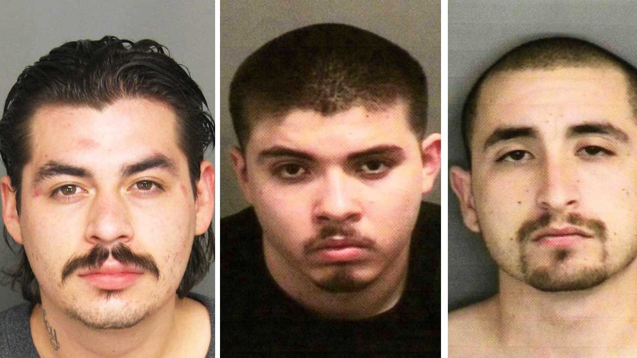 Richard Jerry Criado, left, Saul Gonzalez, and Jason Chavez are seen in police mug shots.