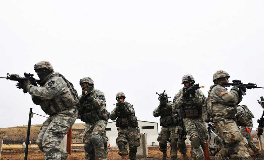 The Salinas soldier's brigade is seen last year during training session in Yakima, Washington.