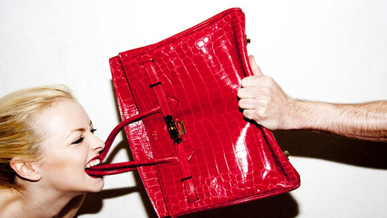 Francesca Eastwood destroys a $100,000 purse in a photo shot by photographer Tyler Shields.