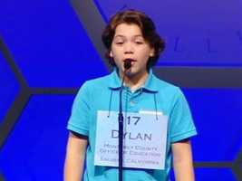 Dylan Bird is seen competing in last year's spelling bee at age 12. He made it to Round Three before he was eliminated.