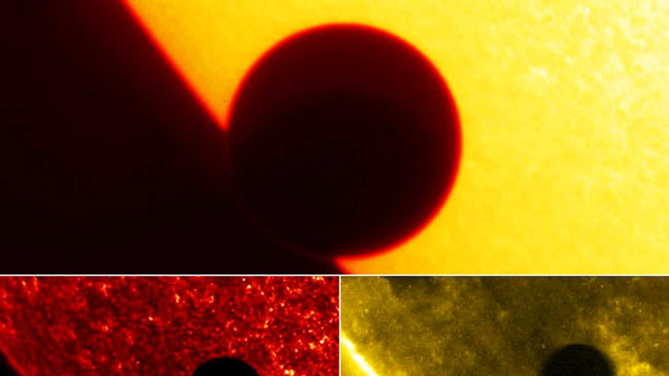 The top image shows Venus on the eastern limb of the Sun. The faint ring around the planet comes from the scattering of its atmosphere, which allows some sunlight to show around the edge of the otherwise dark planetary disk.