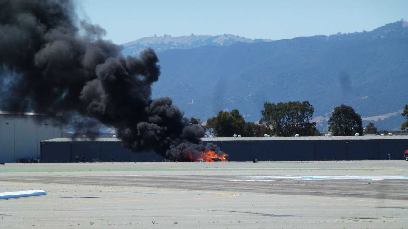 A plane burst into flames on impact at the Salinas airport on June 1, 2012. (Photo by Tom Conklin)