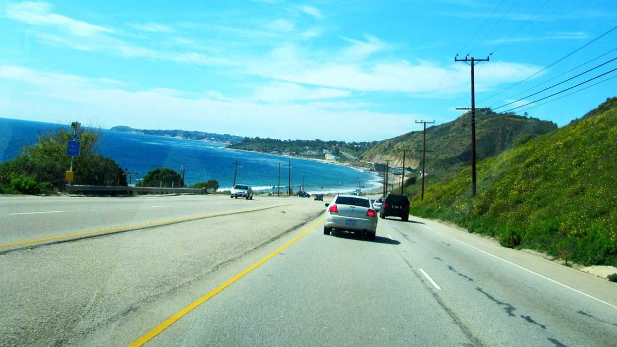 The Pacific Coast Highway in Malibu is seen.