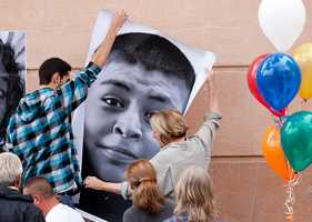 Students said they hope the installation will make people stop and think.All of the students photographed are making positive choices in their lives and have shunned drugs and gangs, E.A. Hall Middle School teacher Daniel Levy said.