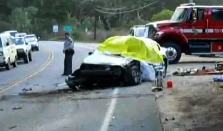 California Highway Patrol investigators said Garcia was high on marijuana and a stimulant when her 2005 Jeep Cherokee crossed over the double yellow lines and slammed head-on into this 1999 Oldsmobile sedan. (Jan. 19, 2011)