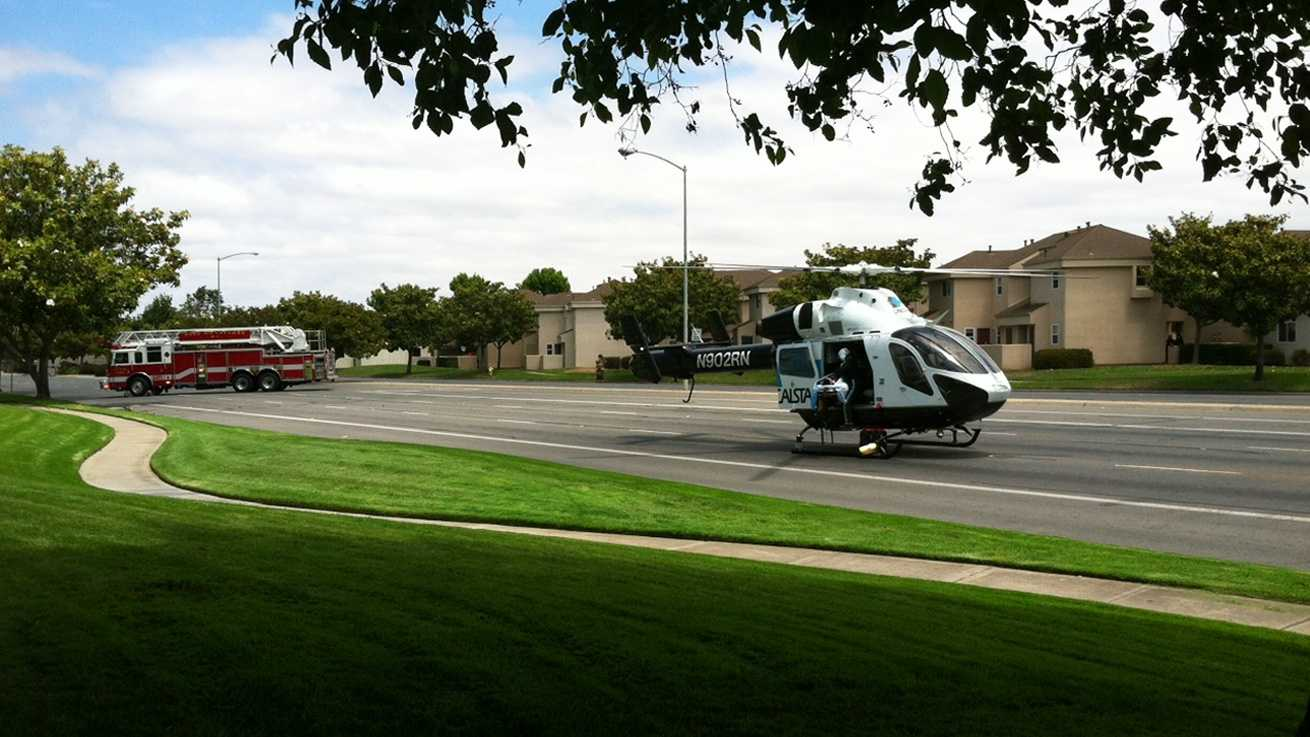 A helicopter landed on North Main Street in Salinas Tuesday.