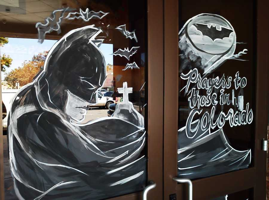 A local artist painted this Batman-themed memorial at the Maya Cinemas in Salinas on Friday for the Colorado shooting victims. (July 20, 2012)