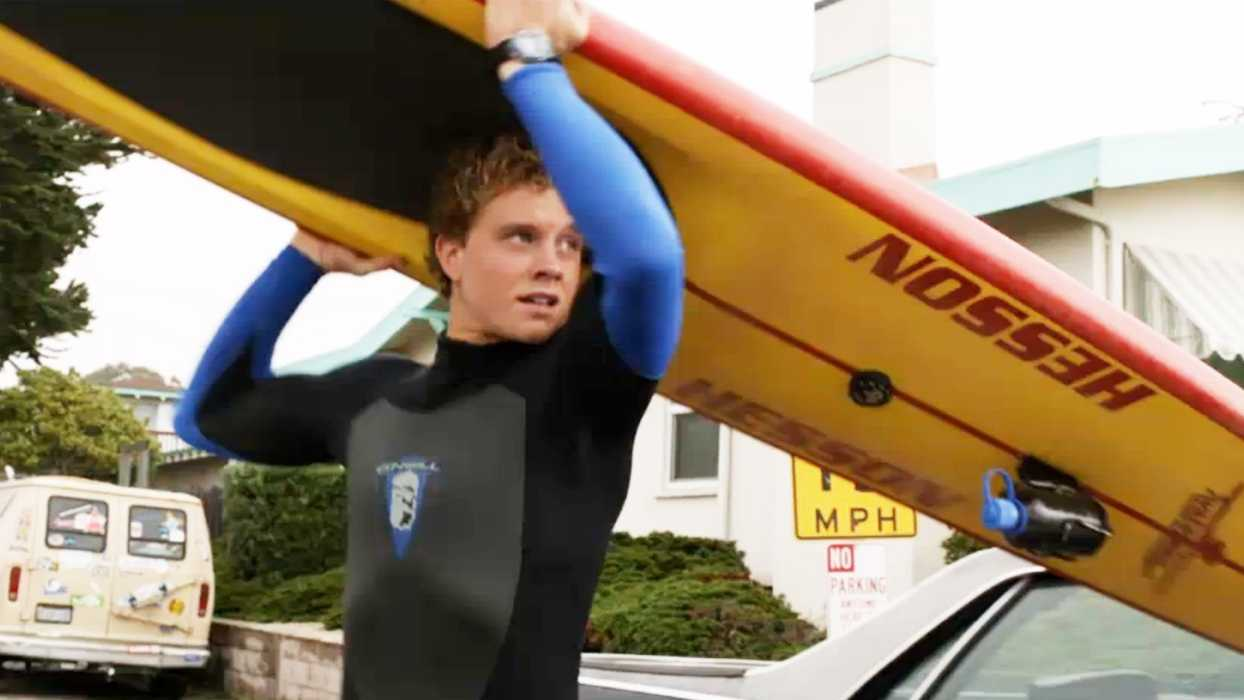 Actor Jonny Weston is seen playing the role of Jay Moriarity at Pleasure Point in Capitola.