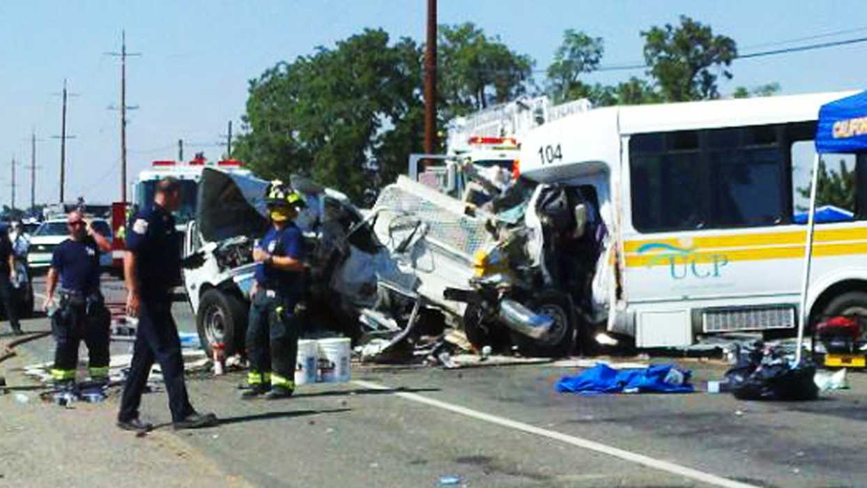 Three people died when a van carrying people with cerebral palsy and a truck crashed head on in Davis, Calif.