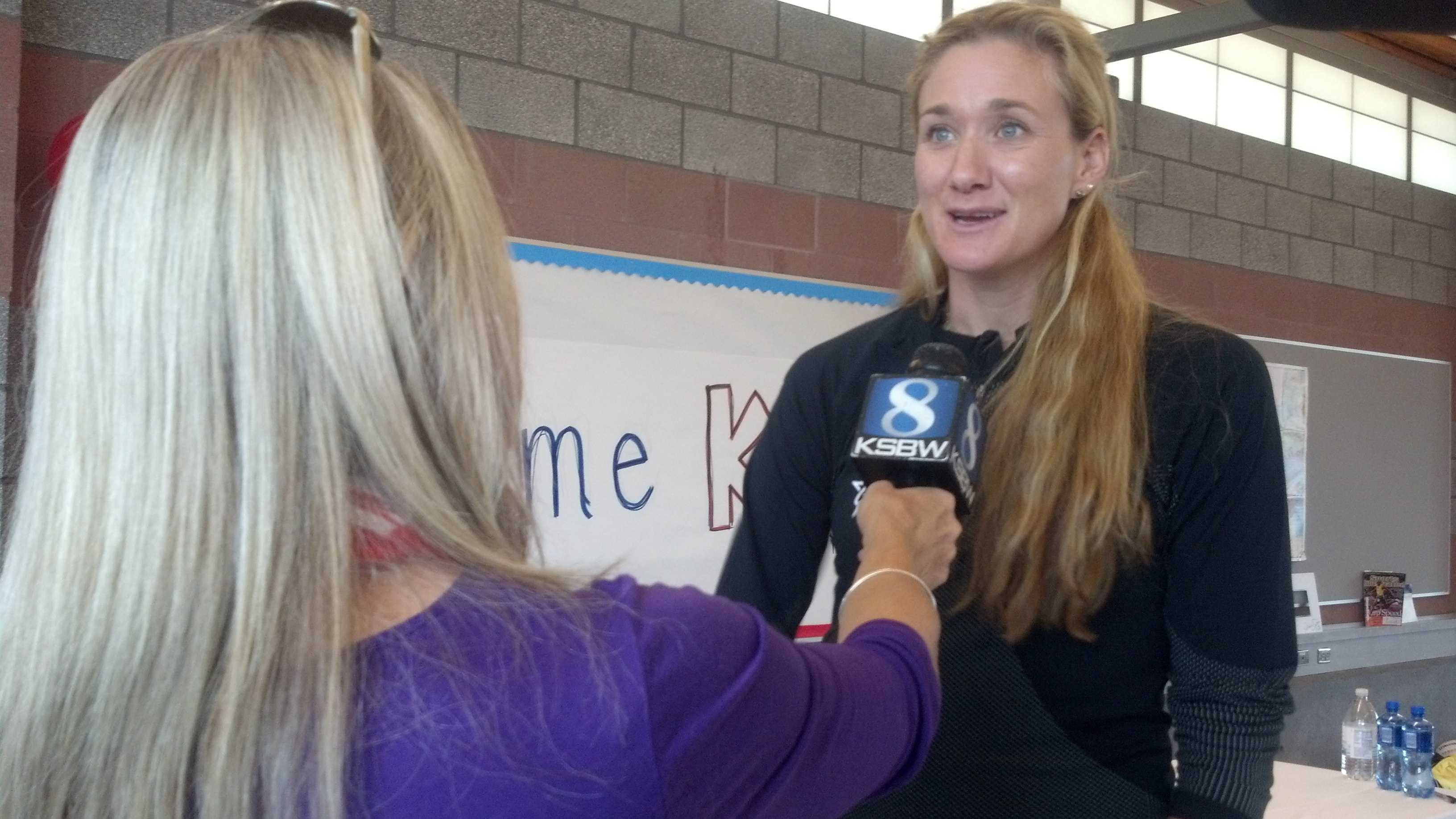Action News Reporter Margot Dunphy interviews Olympian Kerri Walsh