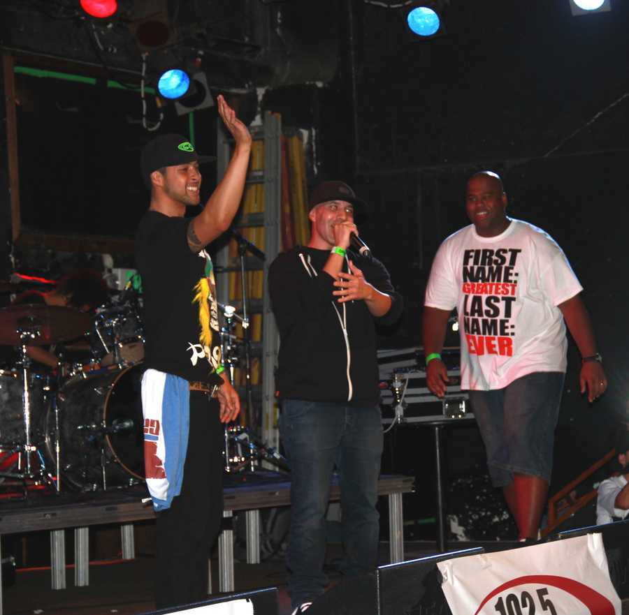 """The show was hosted by local radio station 102.5 KDON and organized by DJ Sam """"Diggedy"""" Segovia, center.KDON Morning Madhouse radio hosts Segovia, Domingo Rivera, andRynell """"Showbiz"""" Williams are seen here talking to the high-energy crowd."""