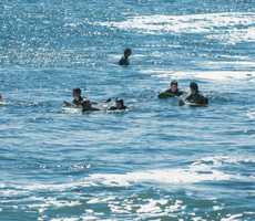 Waves were pumping from a strong south swell at Santa Cruz's Steamer Lane on Monday when a 50-year-old surfer was thrashed into a rocky cliff. (Sept. 3, 2012)