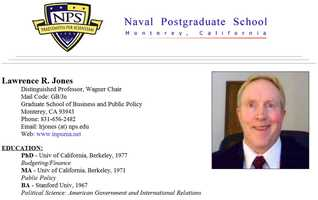 Lawrence Jones has taught for two decades at the Naval Postgraduate School and is currently a distinguished professor in NPS' Graduate School of Business and Public Policy.