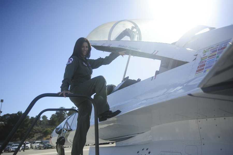 Michelle Imperato flew with the United States Thunderbirds at the California International Airshow in Salinas on Sept. 20, 2012. Her ride in an F-16 jet had her soaring at 18,000 feet in the air at speeds of 350 miles per hour.