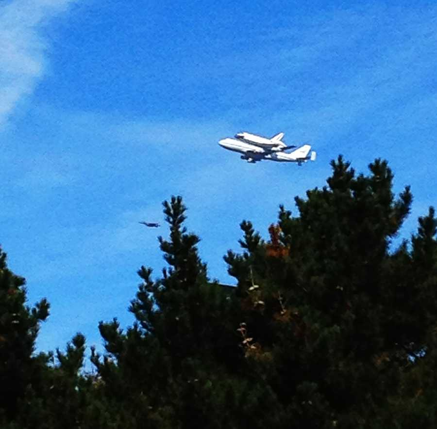 Endeavour is seen over Monterey in this shot.