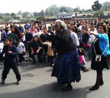 Students at Ord Terrace Elementary School react with glee to the shuttle's impressive flyby over Seaside!