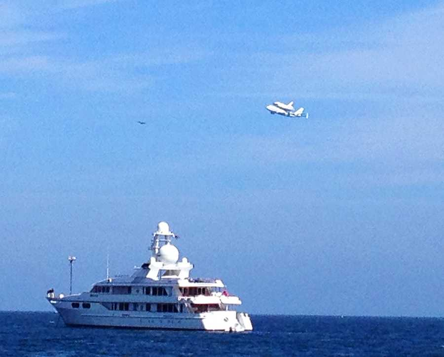 Endeavour shows up ayacht that was sailing on the Monterey Bay Friday.