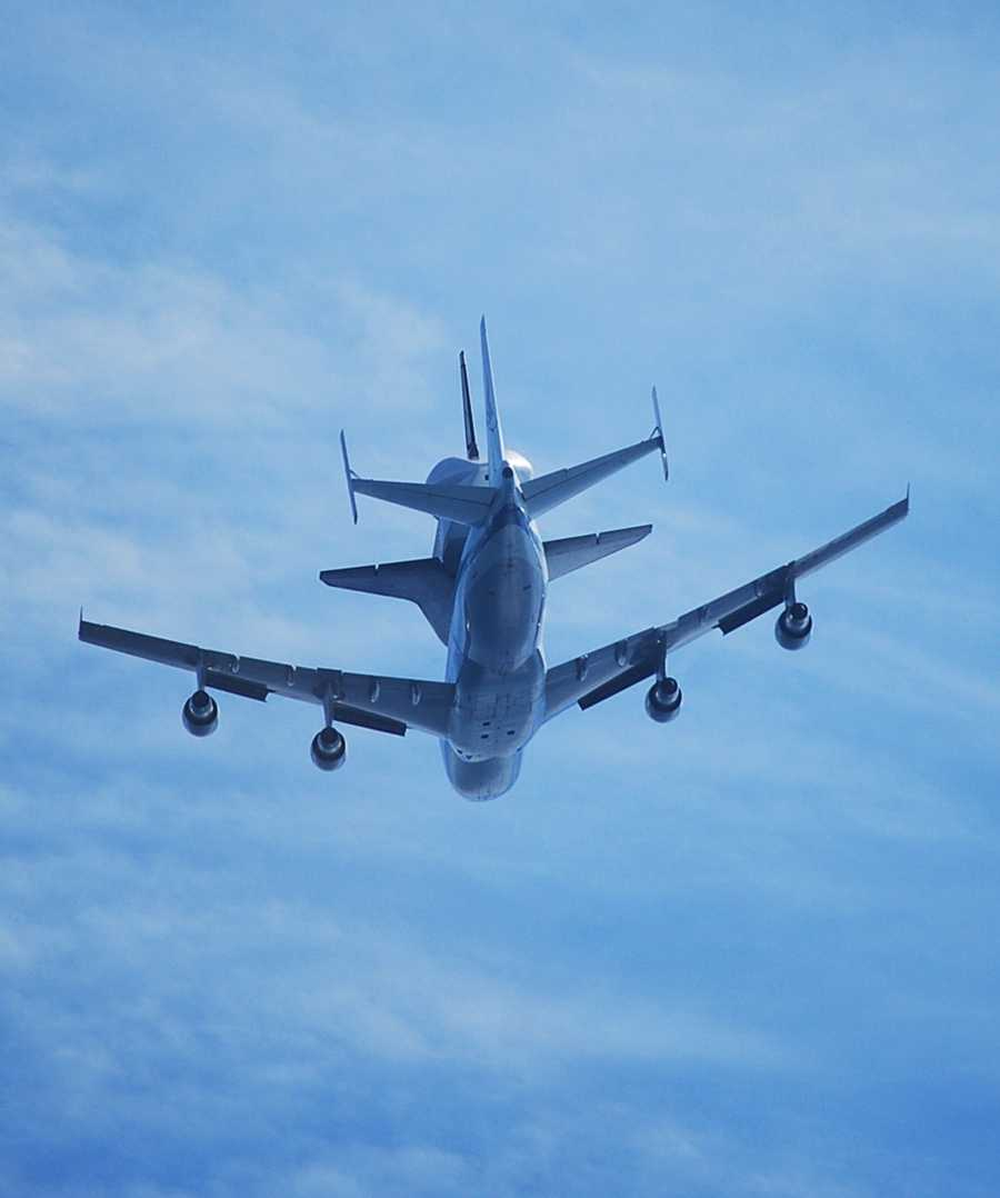 Matthew Stout shot this photograph from West Cliff Drive in Santa Cruz as the shuttle flew directly overhead.