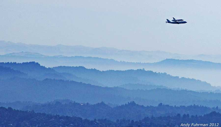 Photographer Andy Fuhrman shot this at 9:48 a.m. Friday as Endeavor flew over the San Lorenzo Valley in northern Santa Cruz County.